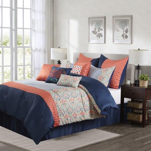 Pleasurable Coral And Navy Bedroom Decor