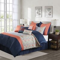 Nanshing Dascha 10-piece Pink and Blue Polyester Comforter Set