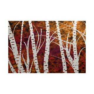 2 x 3-Feet, Birch Trees, Floral Print Indoor/Outdoor Rug - 2 x 3