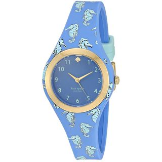 Kate Spade Women's KSW1109 'Rumsey' Seahorse Print Blue Silicone Watch