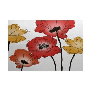 2 x 3-Feet, Poppies, Floral Print Indoor/Outdoor Rug