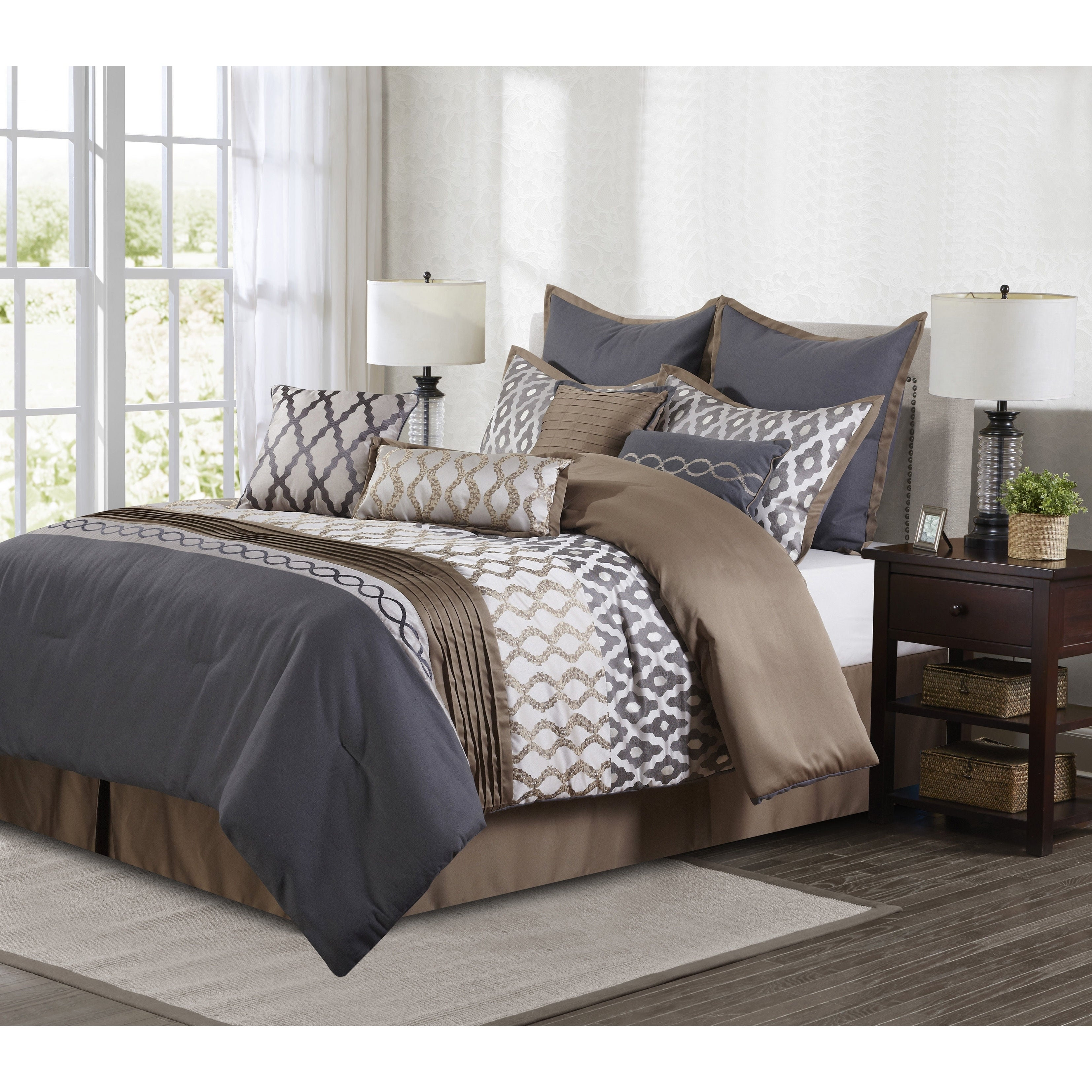 Nanshing Caval Grey And Brown 10 Piece Polyester Comforter Set Overstock 12330162