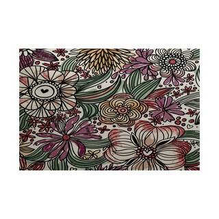 2 x 3-Feet, Zentangle Floral, Floral Print Indoor/Outdoor Rug