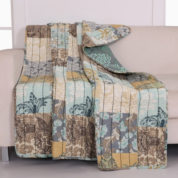 Greenland Home Fashions  Elle Blue and Brown 100-Percent Cotton Reversible Quilt Throw