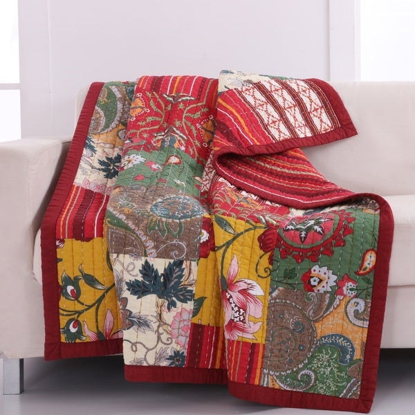 Greenland Home Fashions  Arcadia Country Style Red 100-Percent Cotton Patchwork Throw