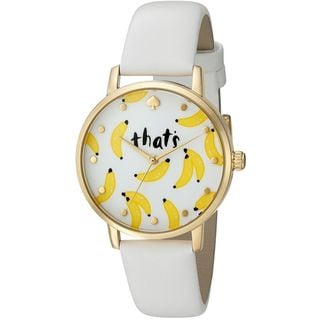 Kate Spade Women's KSW1122 'Metro' That's Bananas White Leather Watch