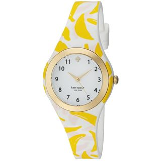 Kate Spade Women's KSW1125 'Rumsey' Banana Print White Silicone Watch