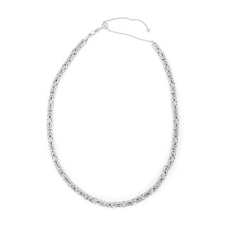 Gioelli Sterling Silver Adjustable Byzantine Chain Necklace