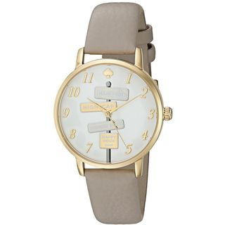 Kate Spade Women's KSW1126 'Metro' Novelty Sign Post Grey Leather Watch