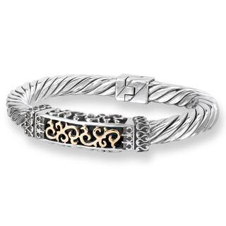 Avanti Sterling Silver and 18K Yellow Gold Scroll Design Hinged Cuff Bracelet|https://ak1.ostkcdn.com/images/products/12330263/P19161956.jpg?impolicy=medium