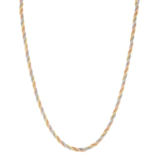 Gioelli 14k Tri Gold 18-inch Sparkle Popcorn Chain Necklace