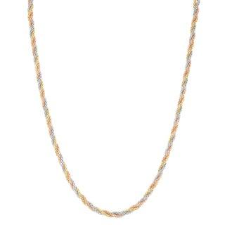 Gioelli 14k Tri Gold 18-inch Sparkle Popcorn Chain Necklace
