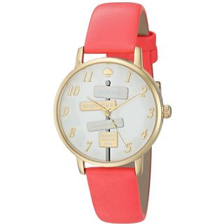 Kate Spade Women's 'Metro' Novelty Sign Post Red Leather Watch