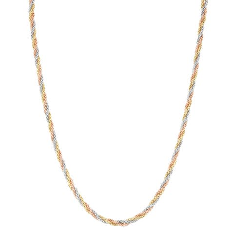 Gioelli 14k Tri-colored Gold 20-inch Sparkle Popcorn Chain Necklace