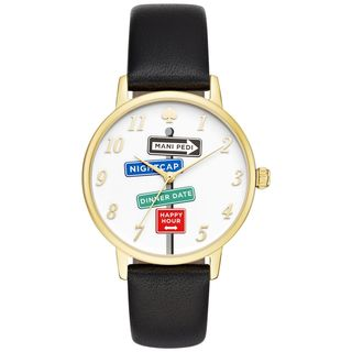 Kate Spade Women's KSW1128 'Metro' Novelty Sign Post Black Leather Watch