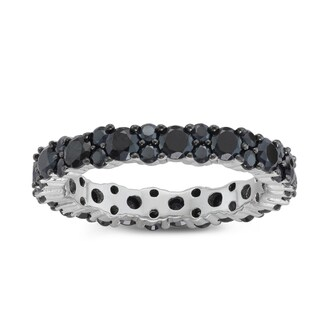 Gioelli Black Spinel Pave Sterling Silver Eternity Band Ring