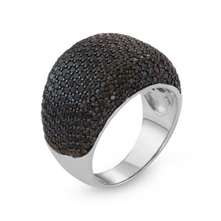 Gioelli Sterling Silver/Black Spinel Pave Cocktail Ring (5 options available)