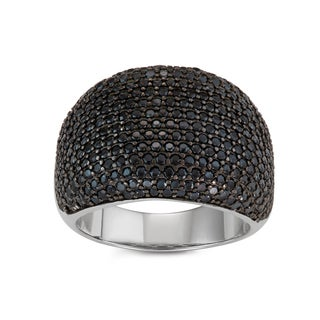 Gioelli Sterling Silver/Black Spinel Pave Cocktail Ring