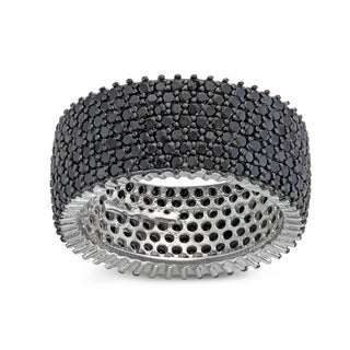 Gioelli Sterling Silver Black Spinel Pave Wide Band Ring