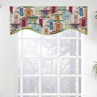 Beach Cottage Print Shaped Window Valance