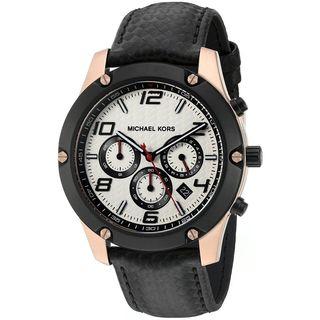 Michael Kors Men's MK8489 'Caine' Chronograph Black Leather Watch