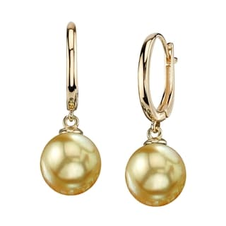 Radiance Pearl 14k Gold Golden South Sea Pearl Earrings (10-11mm/ 11-12mm/ 12-13mm)