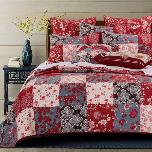 Greenland Home Fashions  Nicole 100 Percent Cotton Authentic Patchwork Reversible 3-Piece Quilt Set