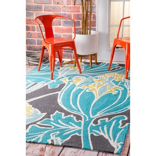 nuLOOM Handmade by Thomas Paul Floral Outdoor Blue Rug (7'6 x 9'6)