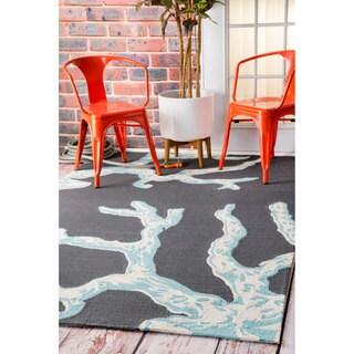 nuLOOM Handmade by Thomas Paul Coastal Outdoor Charcoal Rug (7'6 x 9'6)