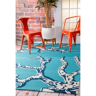 nuLOOM Handmade by Thomas Paul Coastal Outdoor Blue Rug (7'6 x 9'6)