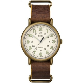 Timex Men's TW2P857009J Weekender Oversized Antiqued Brass Case Brown Leather Slip-through Strap Watch