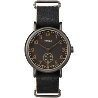 Timex Men's TW2P867009J Weekender Titanium-tone/Black Leather Oversized Sub-second Dial Slip-thru Strap Watch