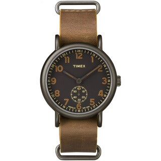Timex Men's TW2P868009J Weekender Oversized Titanium-tone Case Sub-second Dial Tan Leather Slip-thru Strap Watch