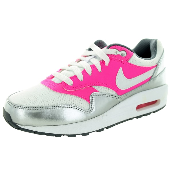 Nike Kids Air Max 1 (Gs) White/White/Pink Pow/Cool Grey Running Shoe