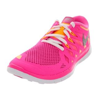 Nike Kid's Free 5.0 (Gs) Pink Glw/Metallic Silver/White/Atmc Mn Running Shoe