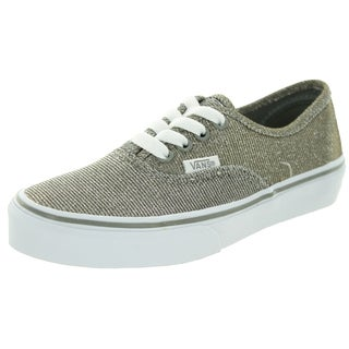 Vans Kids Authentic (Glitter Textile) Gy/True White Skate Shoe