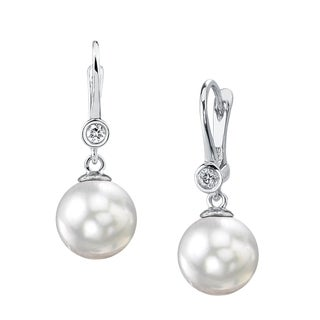 Radiance Pearl 14k Gold White Akoya Pearl and Diamond Earrings (7.5-8.0mm/ 8.0-8.5mm/ 8.5-9.0mm)