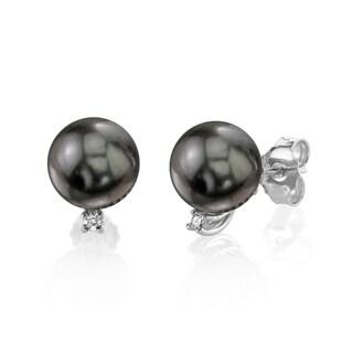 Radiance Pearl 14k Gold Tahitian South Sea Pearl and Diamond Earrings (9-10mm)