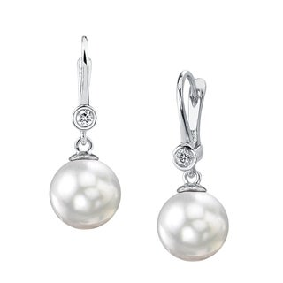 Radiance Pearl 14k Gold White South Sea Pearl and Diamond Earrings (9-10mm/ 10-11mm. 11-12mm)