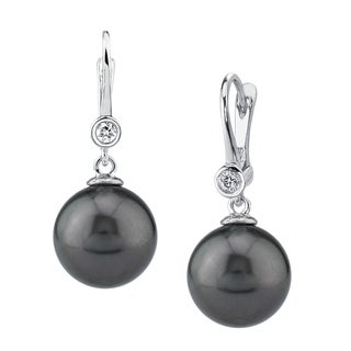 Radiance Pearl 14k Gold Tahitian South Sea Pearl and Diamond Earrings (9-10mm/ 10-11mm. 11-12mm)