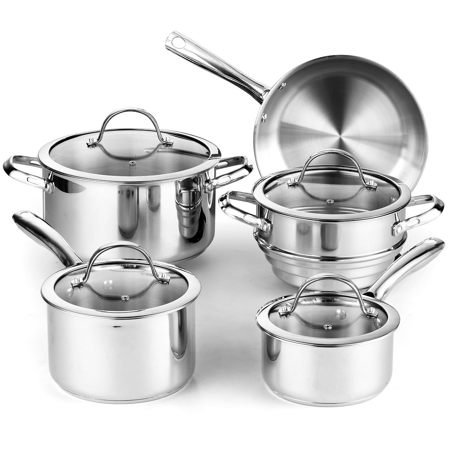 with Lids Basics 9 Piece Stainless Steel Induction Cookware Set