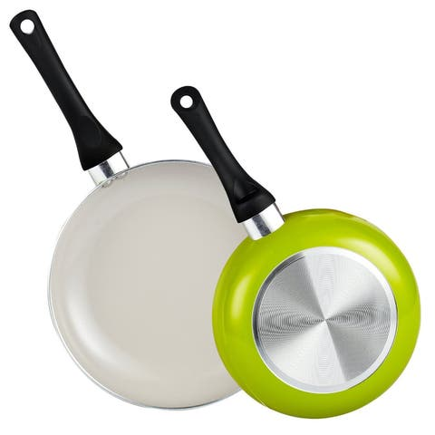 Cook N Home 2-piece 8 and 9.5-inch Green Nonstick Ceramic Saute Fry Pan/ Skillet Set