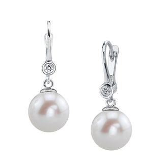 Radiance Pearl 14k Gold White Freshwater Pearl and Diamond Earrings (9-10mm/ 10-11mm. 11-12mm) (More options available)