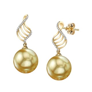 Radiance Pearl 14k Gold Golden South Sea Pearl and Diamond Earrings (9-10mm/ 10-11mm/ 11-12mm)