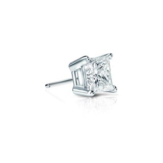 Auriya 14k Gold 1/4ct TDW Princess-Cut Diamond 4-Prong Basket Push-Back Single Stud Earring (H-I, SI1-SI2)
