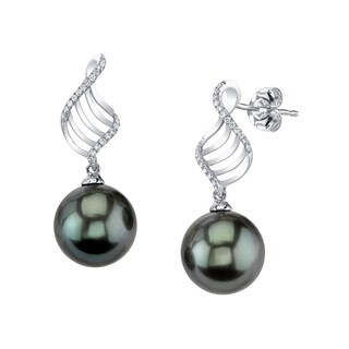 Radiance Pearl 14k Gold Tahitian South Sea Pearl and Diamond Earrings (9-10mm/ 10-11mm/ 11-12mm)