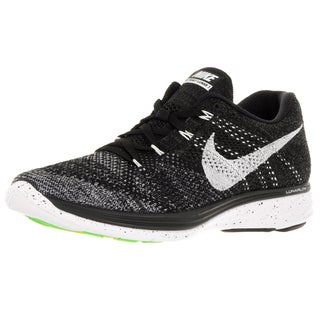 Nike Men's Flyknit Lunar3 Black/White/Mid Fog/Grey Running Shoe