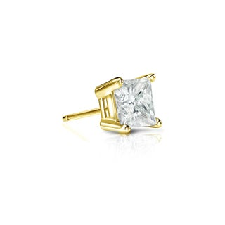 Auriya 14k Gold 1/4ct TDW Princess-Cut Diamond 4-Prong Basket Push-Back Single Stud Earring (J-K, I2-I3)