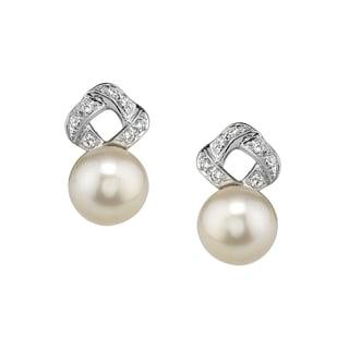 Radiance Pearl 14k Gold White Akoya Pearl and Diamond Earrings (7.5-8.0mm)