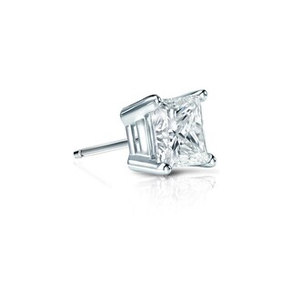 Auriya 14k Gold 1/3ct TDW Princess-Cut Diamond 4-Prong Basket Push-Back Single Stud Earring (H-I, SI1-SI2)